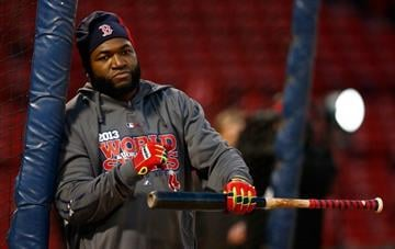 BOSTON, MA - OCTOBER 29:  David Ortiz #34 of the Boston Red Sox warms up during the team workout at Fenway Park on October 29, 2013 in Boston, Massachusetts.  (Photo by Jared Wickerham/Getty Images) By Jared Wickerham