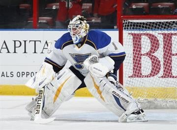 SUNRISE, FL - NOVEMBER 1: Goaltender Brian Elliott #1 of the St. Louis Blues warms up prior to the game against the Florida Panthers at the BB&T Center on November 1, 2013 in Sunrise, Florida. (Photo by Joel Auerbach/Getty Images) By Joel Auerbach