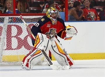 SUNRISE, FL - NOVEMBER 1: Goaltender Scott Clemmensen #30 of the Florida Panthers warms up prior to the game against the St. Louis Blues at the BB&T Center on November 1, 2013 in Sunrise, Florida. (Photo by Joel Auerbach/Getty Images) By Joel Auerbach