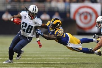 ST. LOUIS, MO - NOVEMBER 3: Chris Johnson #28 of the Tennessee Titans runs against the St. Louis Rams in the second quarter at the Edward Jones Dome on November 3, 2013 in St. Louis, Missouri.  (Photo by Michael Thomas/Getty Images) By Michael Thomas