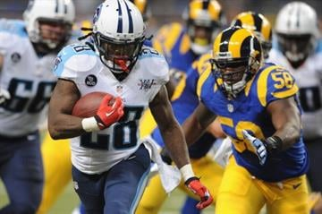 ST. LOUIS, MO - NOVEMBER 3: Chris Johnson #28 of the Tennessee Titans runs against the St. Louis Rams in the fourth quarter at the Edward Jones Dome on November 3, 2013 in St. Louis, Missouri.  (Photo by Michael Thomas/Getty Images) By Michael Thomas