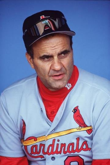 14 MAY 1995:  JOE TORRE, MANAGER OF THE ST. LOUIS CARDINALS, RELAXES IN THE DUGOUT DURING HIS TEAM's 6-5 WIN OVER THE LOS ANGELES DODGERS AT DODGER STADIUM IN LOS ANGELES, CALIFORNIA. Mandatory Credit: Stephen Dunn/ALLSPORT By Stephen Dunn