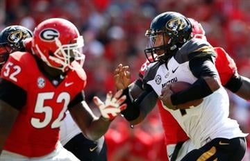 ATHENS, GA - OCTOBER 12:  James Franklin #1 of the Missouri Tigers rushes against the Georgia Bulldogs at Sanford Stadium on October 12, 2013 in Athens, Georgia.  (Photo by Kevin C. Cox/Getty Images) By Kevin C. Cox