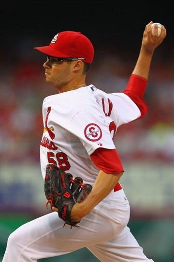 ST. LOUIS, MO - JUNE 21:  Reliever Joe Kelly #58 of the St. Louis Cardinals pitches against the Texas Rangers at Busch Stadium on June 21, 2013 in St. Louis, Missouri.  (Photo by Dilip Vishwanat/Getty Images) By Dilip Vishwanat