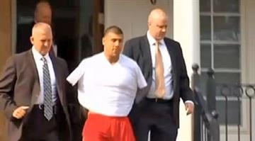 Patriots tight end Aaron Hernandez taken from his home in handcuffs on Wednesday, June 26, 2013 By Belo Content KMOV