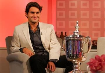 """NEW YORK - SEPTEMBER 10:  Roger Federer, 2007 US Open Champion, during his appearance on NBC's """"Today"""" show on September 10, 2007 in New York City.  (Photo by Chris Trotman/Getty Images For ATP) By Chris Trotman"""