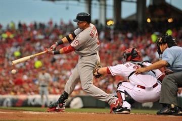 CINCINNATI, OH - JUNE 9:  Carlos Beltran #3 of the St. Louis Cardinals grounds out in the first inning against the Cincinnati Reds at Great American Ball Park on June 9, 2013 in Cincinnati, Ohio.  (Photo by Jamie Sabau/Getty Images) By Jamie Sabau