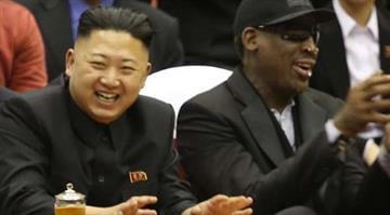 North Korean leader Kim Jong Un, left, and former NBA star Dennis Rodman watch North Korean and U.S. players in an exhibition basketball game at an arena in Pyongyang, North Korea, Thursday, Feb. 28, 2013. By Belo Content KMOV