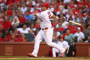 ST. LOUIS, MO - JULY 5:  Matt Adams #53 of the St. Louis Cardinals hits an RBI double against the Miami Marlins in the third inning at Busch Stadium on July 5, 2013 in St. Louis, Missouri.  (Photo by Dilip Vishwanat/Getty Images) By Dilip Vishwanat