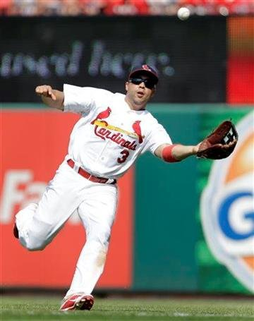 St. Louis Cardinals right fielder Carlos Beltran catches a ball hit by Miami Marlins' Jeff Mathis for an out during the ninth inning of a baseball game on Sunday, July 7, 2013, in St. Louis. The Cardinals won 3-2. (AP Photo/Jeff Roberson) By Jeff Roberson