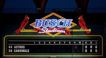 of the St. Louis Cardinals against the Houston Astros during Game Six of the National League Championship Series October 19, 2005 at Busch Stadium in St. Louis, Missouri. By Ronald Martinez