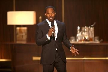 """BEVERLY HILLS, CA - NOVEMBER 03:  Actor Jamie Foxx speaks onstage at Spike TV's """"Eddie Murphy: One Night Only"""" at the Saban Theatre on November 3, 2012 in Beverly Hills, California.  (Photo by Christopher Polk/Getty Images) By Christopher Polk"""