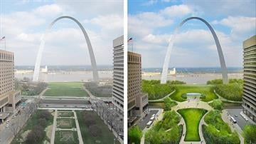 An artist's rendering of proposed renovations to the Arch grounds in downtown St. Louis. By Dan Mueller