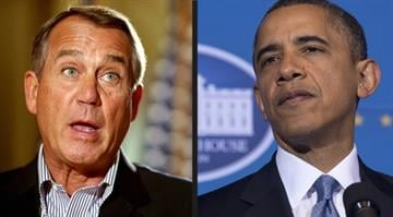 Photo collaboration of Speaker of the House John Boehner (R-OH) and President Barack Obama. Photos: Chip Somodevilla/Getty Images and Saul Loeb/AFP/Getty Images By Dan Mueller