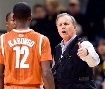Texas head coach Rick Barnes, right, talks with Myck Kabongo during a time out in the first half of an NCAA college basketball game against Missouri Saturday, Jan. 14, 2012, in Columbia, Mo. (AP Photo/L.G. Patterson) By L.G. PATTERSON