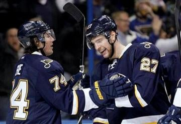 St. Louis Blues' T.J. Oshie, left, congratulates by teammate Alex Pietrangelo on his goal during the second period of an NHL hockey game against the Minnesota Wild Saturday, Jan. 14, 2012, in St. Louis. (AP Photo/Jeff Roberson) By Jeff Roberson