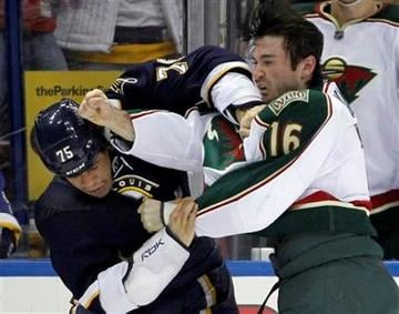 St. Louis Blues' Ryan Reaves, left, and Minnesota Wild's Brad Staubitz fight during the second period of an NHL hockey game Saturday, Jan. 14, 2012, in St. Louis. (AP Photo/Jeff Roberson) By Jeff Roberson