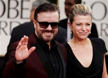 Ricky Gervais, left, and Jane Fallon arrive at the 69th Annual Golden Globe Awards Sunday, Jan. 15, 2012, in Los Angeles. (AP Photo/Matt Sayles) By Matt Sayles