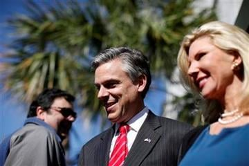 Republican presidential candidate, former Utah Gov. Jon Huntsman, accompanied by his wife Mary Kaye, right, after a campaign stop at Virginia's on King restaurant, Sunday, Jan. 15, 2012, in Charleston, S.C. (AP Photo/Matt Rourke) By Matt Rourke