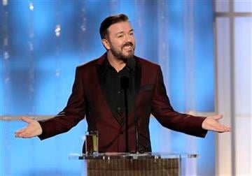 In this image released by NBC, host Ricky Gervais speaks during the 69th Annual Golden Globe Awards, Sunday, Jan. 15, 2012 in Los Angeles. (AP Photo/NBC,  Paul Drinkwater) By Paul Drinkwater
