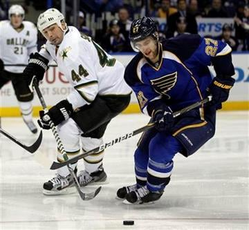 Dallas Stars' Sheldon Souray, left, and St. Louis Blues' Alex Pietrangelo chase after a loose puck during the first period of an NHL hockey game Monday, Jan. 16, 2012, in St. Louis. (AP Photo/Jeff Roberson) By Jeff Roberson
