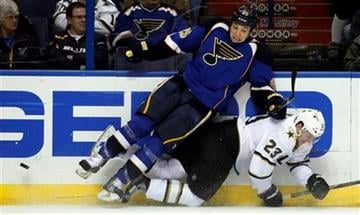 St. Louis Blues' Chris Stewart, left, and Dallas Stars' Tom Wandell, of Sweden, slam into the boards while chasing a loose puck during the second period of an NHL hockey game Monday, Jan. 16, 2012, in St. Louis. (AP Photo/Jeff Roberson) By Jeff Roberson