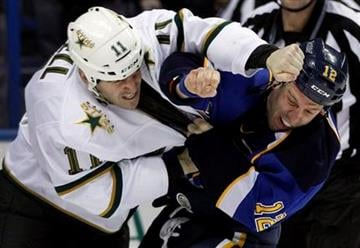 Dallas Stars' Jake Dowell, left, and St. Louis Blues' Scott Nichol fight during the second period of an NHL hockey game Monday, Jan. 16, 2012, in St. Louis. (AP Photo/Jeff Roberson) By Jeff Roberson