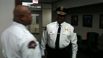 Michael Floore (right) has been named to the position as East St. Louis Police Chief after Michael Baxton suddenly resigned on Wednesday.  Ronald Ike (left) has been named as the Assistant Police Chief.