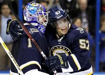 St. Louis Blues' David Perron, right, and goalie Brian Elliott celebrate after the Blues' 1-0 victory over the San Jose Sharks in an NHL hockey game, Saturday, Dec. 10, 2011, in St. Louis. (AP Photo/Jeff Roberson) By Jeff Roberson