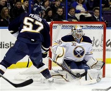 Buffalo Sabres goalie Ryan Miller (30) makes a save on a shot from St. Louis Blues' David Perron (57) in the second period of an NHL hockey game, Saturday, Jan. 21, 2012, in St. Louis. (AP Photo/Tom Gannam) By Tom Gannam