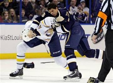 St. Louis Blues' Ryan Reaves (75) lands a punch on Buffalo Sabres' Joe Finley (4) as they fight in the second period of an NHL hockey game, Saturday, Jan. 21, 2012, in St. Louis. (AP Photo/Tom Gannam) By Tom Gannam