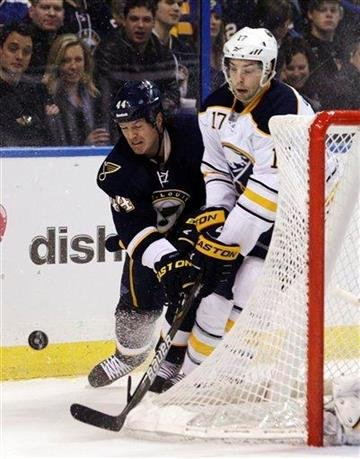 St. Louis Blues center Jason Arnott (44) battles Buffalo Sabres' Marc-Andre Gragnani (17) for the loose puck in the second period of an NHL hockey game, Saturday, Jan. 21, 2012, in St. Louis. (AP Photo/Tom Gannam) By Tom Gannam