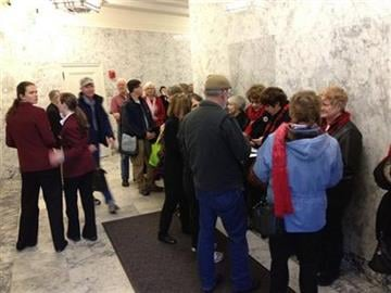 People line up outside an overflow room for a Senate committee hearing on proposed legislation that would legalize same-sex marriage, Monday, Jan. 23, 2012, at the Capitol in Olympia, Wash. (AP Photo/Ted S. Warren) By Ted S. Warren