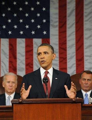 President Barack Obama delivers his State of the Union address on Capitol Hill in Washington, Tuesday, Jan. 24, 2012. Listening in back are Vice President Joe Biden and House Speaker John Boehner, right. (AP Photo/Saul Loeb, Pool) By Saul Loeb