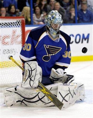 St. Louis Blues goalie Ben Bishop makes a stop in the first period of an NHL hockey game against the Calgary Flames, Tuesday, March 1, 2011 in St. Louis. (AP Photo/Tom Gannam) By Tom Gannam