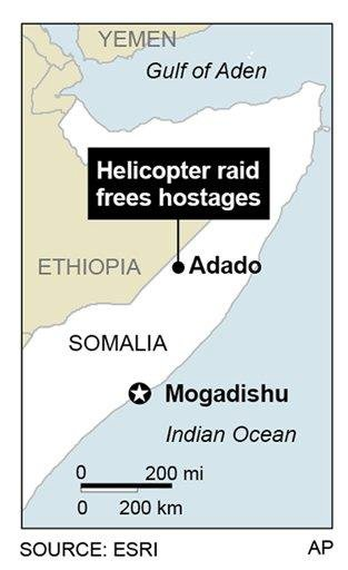 Map locates area around the town of Adado, Somalia, where two hostages were rescued during a helicopter raid. By P. Wedel