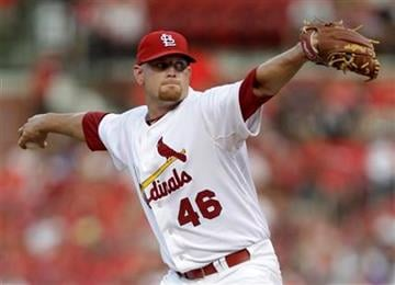 St. Louis Cardinals starting pitcher Kyle McClellan throws during the second inning of a baseball game against the Houston Astros on Monday, July 25, 2011, in St. Louis. (AP Photo/Jeff Roberson) By Jeff Roberson