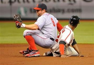St. Louis Cardinals shortstop Nick Punto, left, catches Tampa Bay Rays B.J. Upton as he attempts to steal second base during the second  inning of a baseball game, Saturday, July 20, 2011, in St. Petersburg, Fla. (AP Photo/Brian Blanco) By Brian Blanco