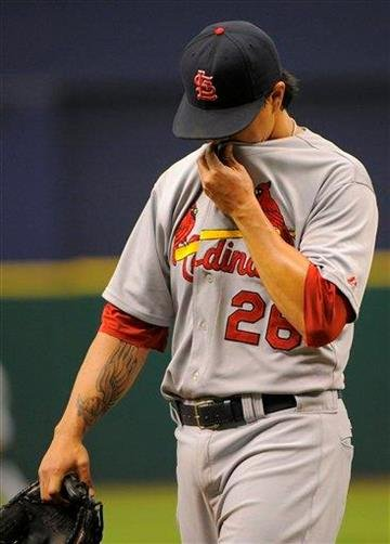 St. Louis Cardinals pitcher Kyle Lohse (26) comes off the mound during the sixth inning of a baseball game against the Tampa Bay Rays Sunday, July 3, 2011, in St. Petersburg, Fla. (AP Photo/Brian Blanco) By Brian Blanco