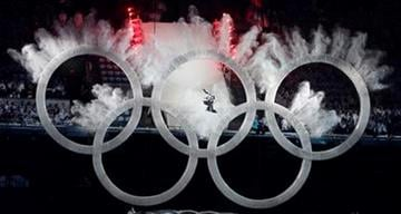A snowboarder sails through the Olympic rings during the opening ceremony for the Vancouver 2010 Olympics in Vancouver, British Columbia, Friday, Feb. 12, 2010. (AP Photo/Amy Sancetta) By Amy Sancetta