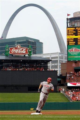 Cincinnati Reds' Jay Bruce rounds the bases on a two-run home run during the first inning of a baseball game against the St. Louis Cardinals on Wednesday, July 6, 2011, in St. Louis. (AP Photo/Jeff Roberson) By Jeff Roberson