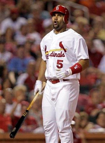 St. Louis Cardinals' Albert Pujols reacts to a called third strike in the seventh inning of a baseball game against the Arizona Diamondbacks, Friday, July 8, 2011 in St. Louis. (AP Photo/Tom Gannam) By Tom Gannam