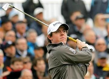 Northern Ireland's Rory McIlroy hits a shot from the 2nd tee during the first day of the British Open Golf Championship at Royal St George's golf course Sandwich, England, Thursday, July 14, 2011. (AP Photo/Peter Morrison) By Peter Morrison