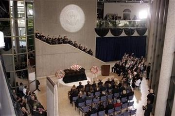 The United States Army Chorus perform during an arrival ceremony for former first lady Betty Ford at the Gerald R. Ford Presidential Museum in Grand Rapids, Mich., Wednesday, July 13, 2011. (AP Photo/The Grand Rapids Press, Rex Larsen, Pool) By Rex Larsen