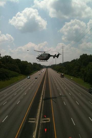 This is a photo of the Arch helicopter lifting off from the scene of an accident on Interstate 44 at Edgar Road.  This picture was submitted by a KMOV.com user. By KMOV Web Producer