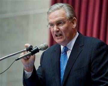 Missouri Gov. Jay Nixon gives his state of the state address Wednesday, Jan. 19, 2011, during a joint session of the house and senate at the capitol in Jefferson City, Mo.  (AP Photo/L.G. Patterson) By L.G. Patterson