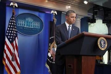 President Barack Obama discusses the continuing budget talks, Tuesday, July 19, 2011, in the the briefing room of the White House in Washington.  (AP Photo/Manuel Balce Ceneta) By Manuel Balce Ceneta