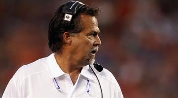 CLEVELAND, OH - AUGUST 08: Head coach Jeff Fisher of the St. Louis Rams watches his team against the Cleveland Browns at FirstEnergy Stadium on August 8, 2013 in Cleveland, Ohio. (Photo by Matt Sullivan/Getty Images) By Matt Sullivan
