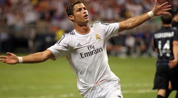 Real Madrid's Cristiano Ronaldo celebrates after scoring a goal in the first half of a game against Inter Milan at the Edward Jones Dome in St. Louis on August 10, 2013.    UPI/Bill Greenblatt By Bill Greenblatt