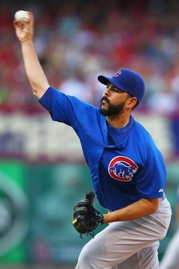 ST. LOUIS, MO - AUGUST 10: Starter Carlos Villanueva #33 of the Chicago Cubs pitches against the St. Louis Cardinals at Busch Stadium on August 10, 2013 in St. Louis, Missouri.  (Photo by Dilip Vishwanat/Getty Images) By Dilip Vishwanat